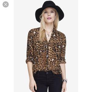 NWOT Express Leopard Print Portofino Shirt small